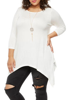 Plus Size Asymmetrical Top with Necklace - IVORY - 3912038342101