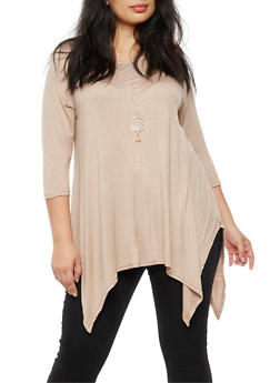 Plus Size Asymmetrical Top with Necklace - 3912038342101