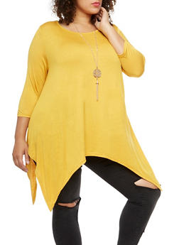 Plus Size Asymmetrical Top with Necklace - MUSTARD - 3912038342101