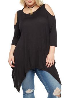 Plus Size Cold Shoulder Top with Detachable Necklace - 3912038342102