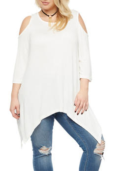 Plus Size Cold Shoulder Top with Detachable Necklace - IVORY - 3912038342102