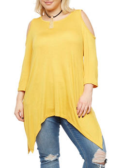Plus Size Cold Shoulder Top with Detachable Necklace - 3912038342102