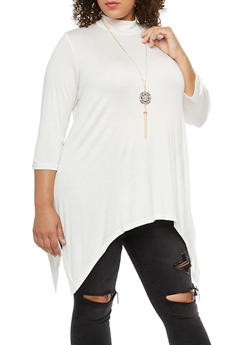 Plus Size Asymmetrical Top with Detachable Necklace - IVORY - 3912038342103