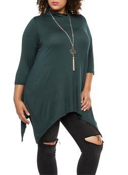 Plus Size Asymmetrical Top with Detachable Necklace - 3912038342103