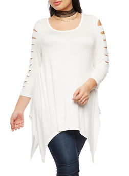 Plus Size Laser Cut Top with Choker Necklace - IVORY - 3912038342104