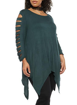 Plus Size Laser Cut Top with Choker Necklace - 3912038342104