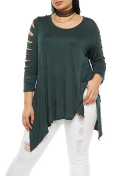 Plus Size Laser Cut Top with Choker Necklace - OLIVE - 3912038342104
