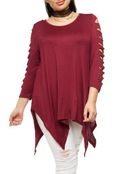 Plus Size Laser Cut Top with Choker Necklace - BURGUNDY - 3912038342104