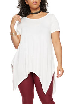 Plus Size Asymmetrical Top with Choker - IVORY - 3912038342105