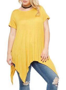Plus Size Asymmetrical Top with Choker - 3912038342105