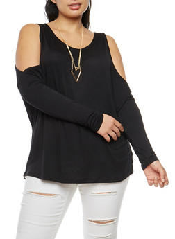 Plus Size Cold Shoulder Tunic Top with Necklace - 3912038342107