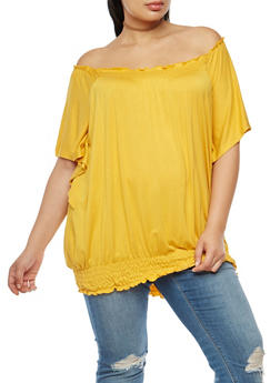 Plus Size Off the Shoulder Smocked Trim Top - 3912038342108