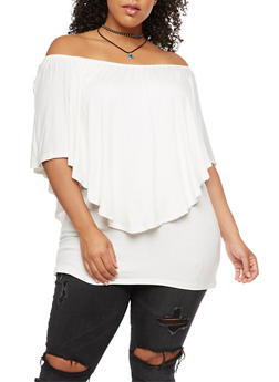 Plus Size Off the Shoulder Overlay Top - IVORY - 3912038342109
