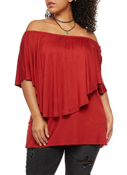 Plus Size Off the Shoulder Overlay Top - 3912038342109