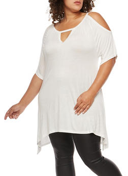 Plus Size Asymmetrical Cold Shoulder Tunic Top - IVORY - 3912038342110