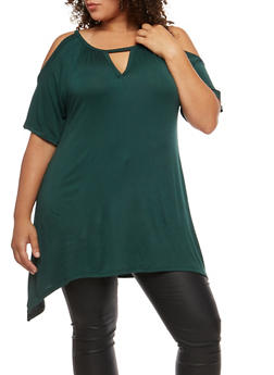 Plus Size Asymmetrical Cold Shoulder Tunic Top - 3912038342110