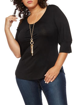 Plus Size Scoop Neck Top with Necklace - 3912038342114