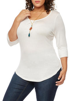 Plus Size Scoop Neck Top with Necklace - IVORY - 3912038342114