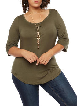 Plus Size Scoop Neck Top with Necklace - OLIVE - 3912038342114