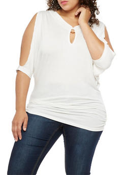Plus Size Cold Shoulder Top with Metallic Ring Detail - IVORY - 3912038342115
