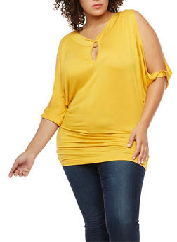 Plus Size Cold Shoulder Top with Metallic Ring Detail - 3912038342115