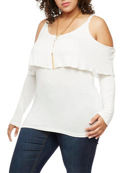 Plus Size Cold Shoulder Overlay Top with Necklace - IVORY - 3912038342127