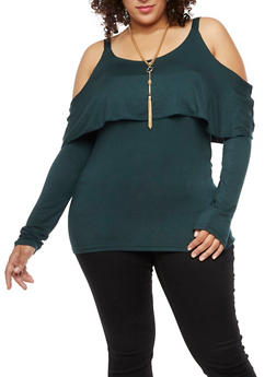 Plus Size Cold Shoulder Overlay Top with Necklace - 3912038342127