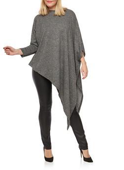 Plus Size Asymmetrical Poncho - 3912038342150