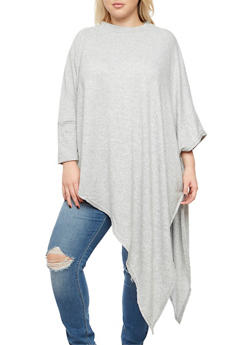 Plus Size Asymmetrical Poncho - GRAY - 3912038342150