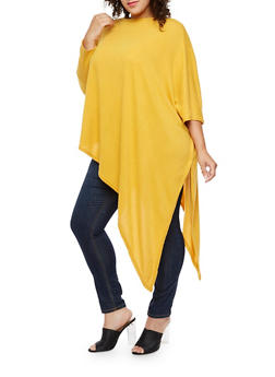 Plus Size Asymmetrical Poncho - YELLOW - 3912038342150