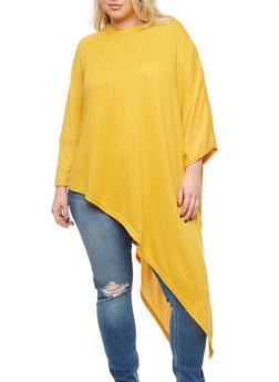 Plus Size Asymmetrical Poncho - MUSTARD - 3912038342150