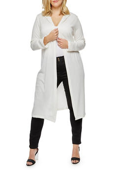 Plus Size Long Sleeve Hooded Duster - IVORY - 3912038342152