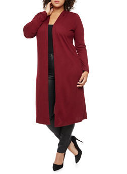 Plus Size Long Sleeve Hooded Duster - 3912038342152