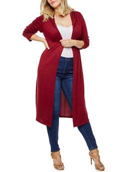 Plus Size Long Sleeve Hooded Duster - BURGUNDY - 3912038342152