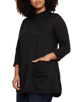 Plus Size Two Pocket Tunic Top - 3912038342158