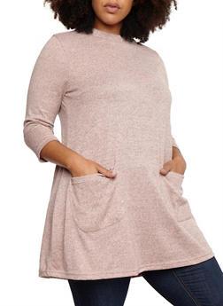 Plus Size Two Pocket Tunic Top - BLUSH - 3912038342158