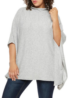 Plus Size Poncho Top - GRAY - 3912038342159