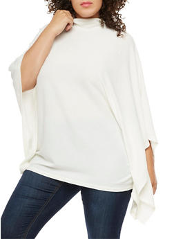 Plus Size Poncho Top - IVORY - 3912038342159