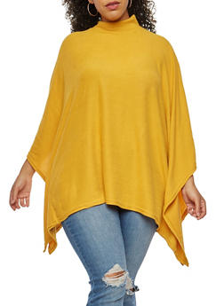 Plus Size Poncho Top - YELLOW - 3912038342159