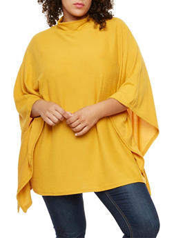 Plus Size Poncho Top - MUSTARD - 3912038342159