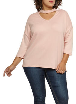 Plus Size Choker Neck Top - 3912038342160