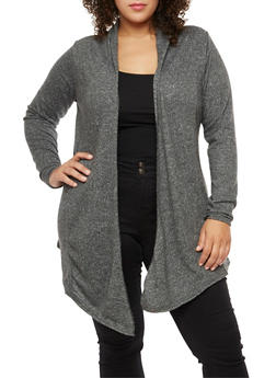 Plus Size Long Sleeve Open Front Cardigan - 3912038342161