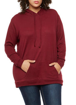Plus Size Long Sleeve Hooded Top - 3912038342163