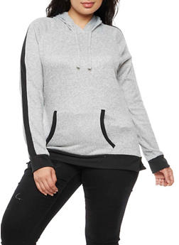 Plus Size Contrast Trim Hooded Top - 3912038342165
