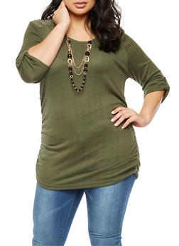 Plus Size Lace Ruched Top with Necklace - 3912038342166