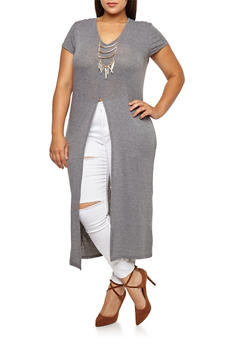 Plus Size Maxi Top with Necklace - 3912038342201