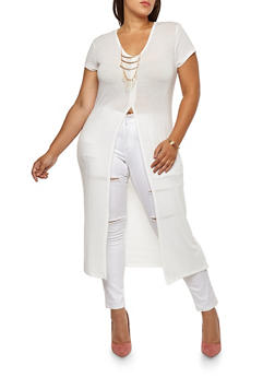 Plus Size Maxi Top with Necklace - IVORY - 3912038342201