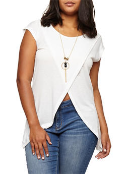Plus Size Split Front Top with Necklace - IVORY - 3912038342202