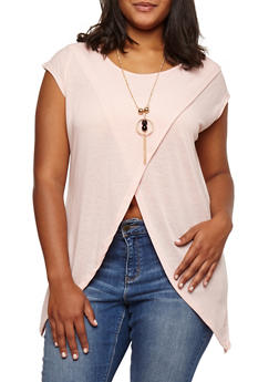 Plus Size Split Front Top with Necklace - 3912038342202