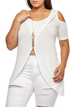 Plus Size Asymmetrical Cold Shoulder Top with Necklace - IVORY - 3912038342203